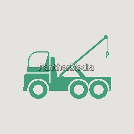 car towing truck icon gray background