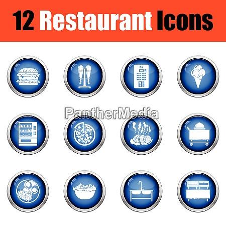 restaurant icon set glossy button
