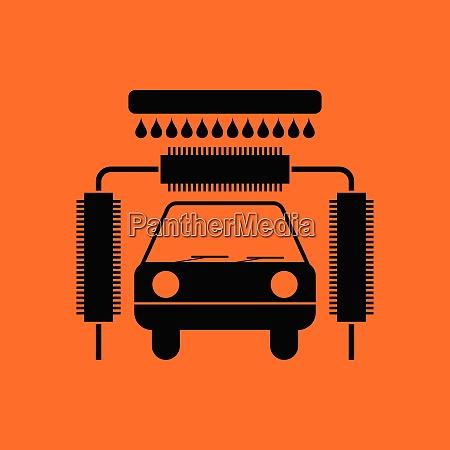 car wash icon orange background with