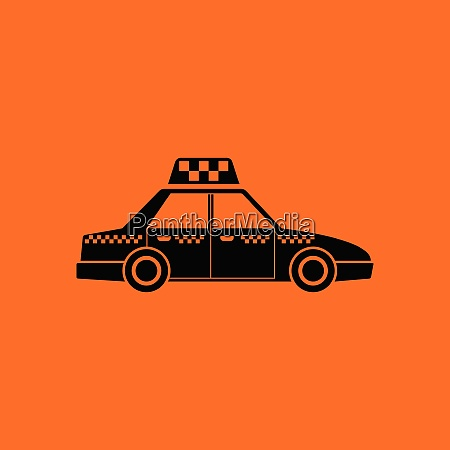 taxi car icon orange background with
