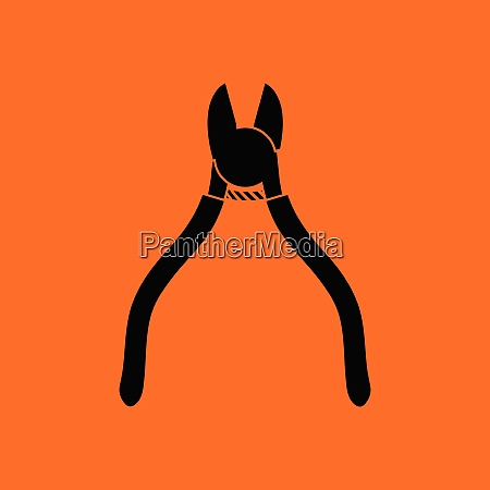side cutters icon orange background with
