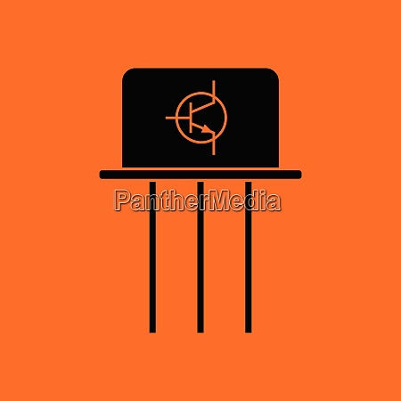 transistor icon orange background with black
