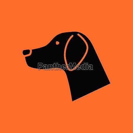 dog head icon orange background with