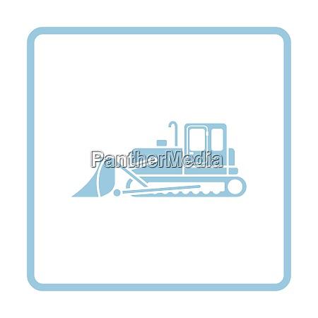 icon of construction bulldozer blue frame