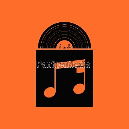 vinyl record in envelope icon orange