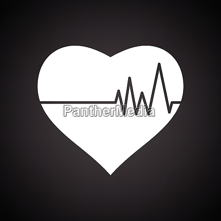 heart with cardio diagram icon black