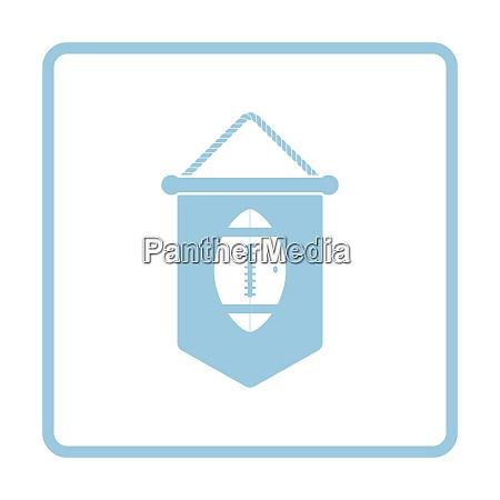 american football pennant icon blue frame