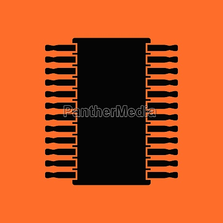 chip icon orange background with black