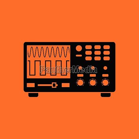 oscilloscope icon orange background with black