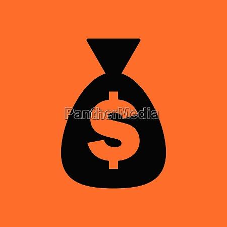 money bag icon orange background with