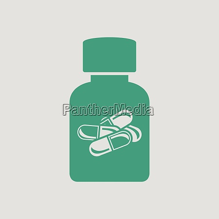 pills bottle icon gray background with