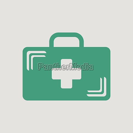medical case icon gray background with