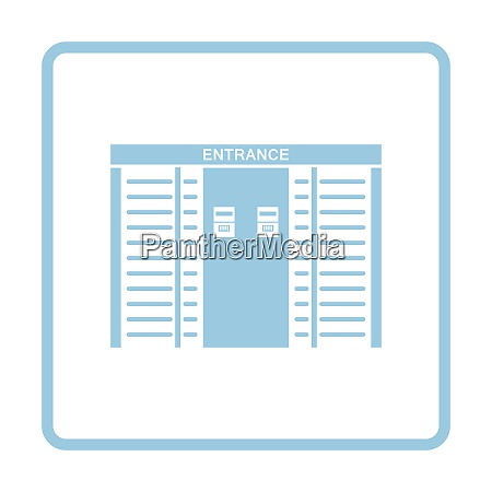 stadium entrance turnstile icon blue frame