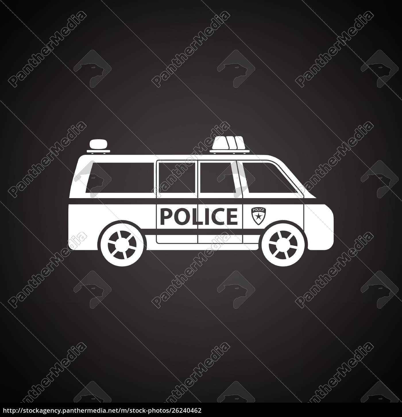 police, van, icon., black, background, with - 26240462