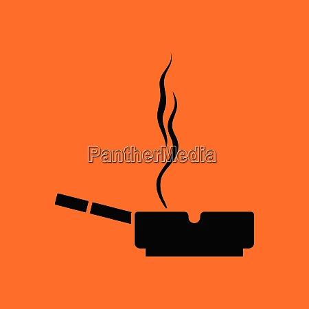 cigarette in an ashtray icon orange