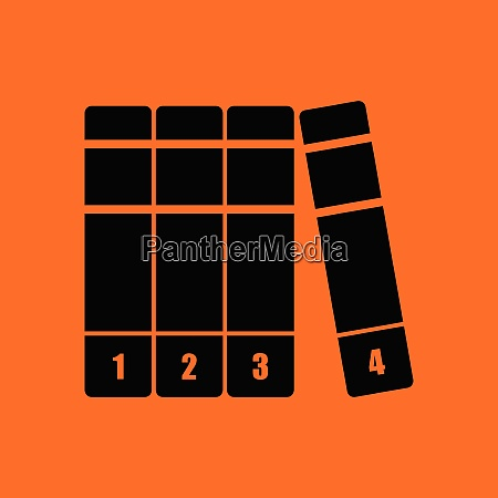 books volumes icon orange background with