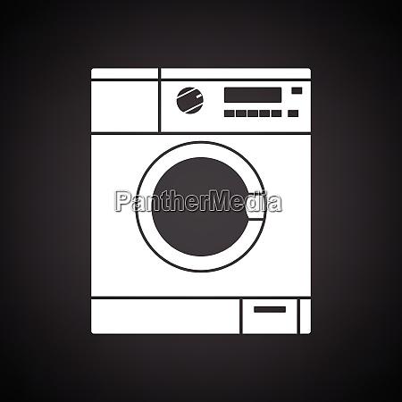 washing machine icon black background with