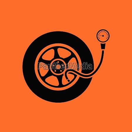 tire pressure gage icon orange background