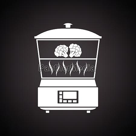 kitchen steam cooker icon black background