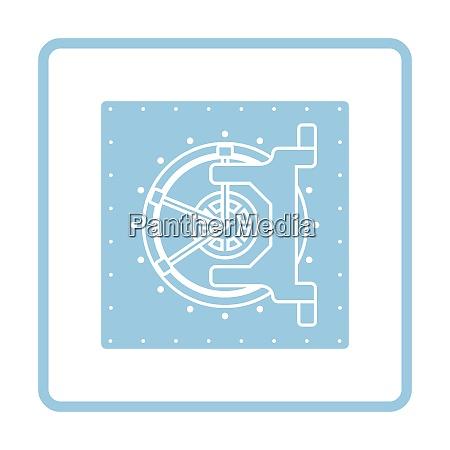 safe icon blue frame design vector
