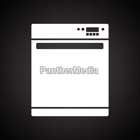 kitchen dishwasher machine icon black background