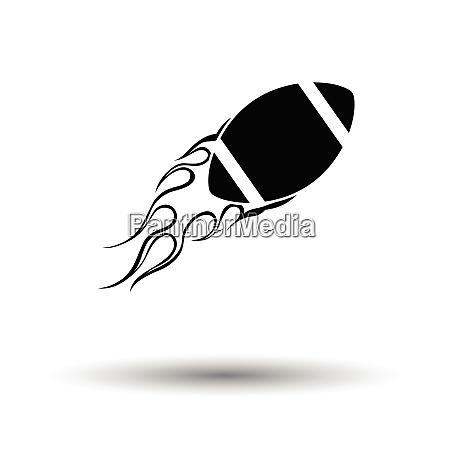 american football fire ball icon white