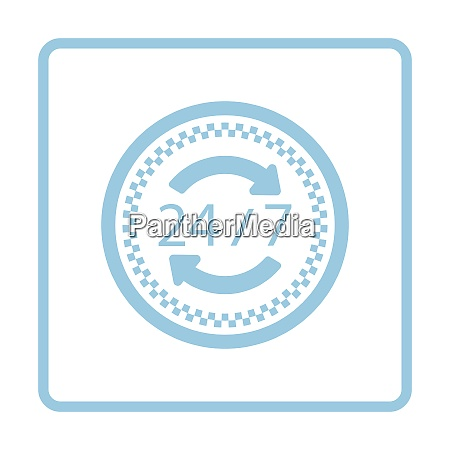 24 hour taxi service icon blue