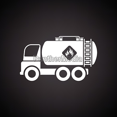 oil truck icon black background with