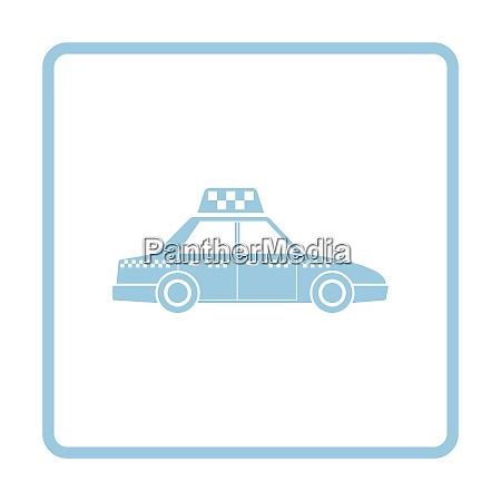 taxi car icon blue frame design