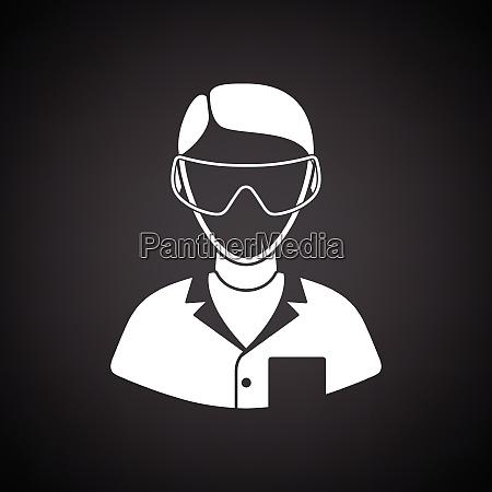 icon of chemist in eyewear black
