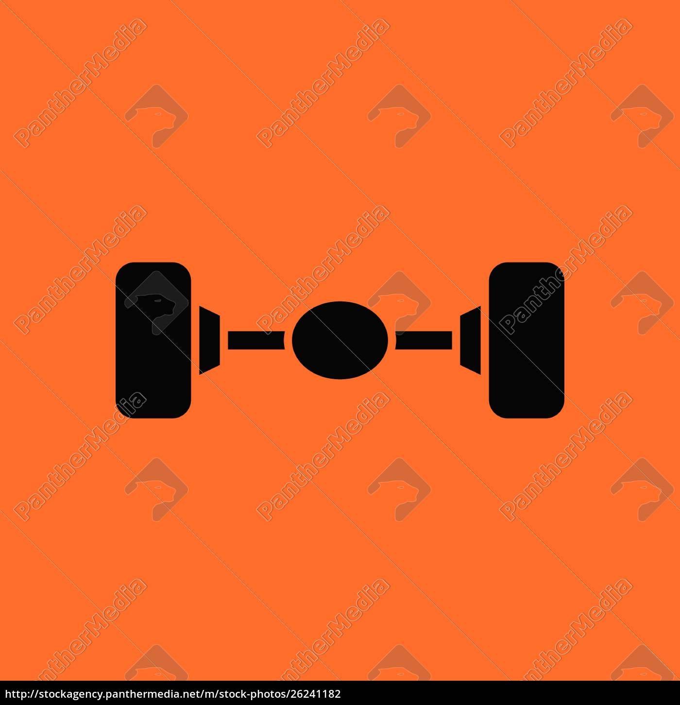 car, rear, axle, icon., orange, background - 26241182