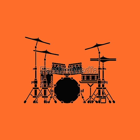 drum, set, icon., orange, background, with - 26241687