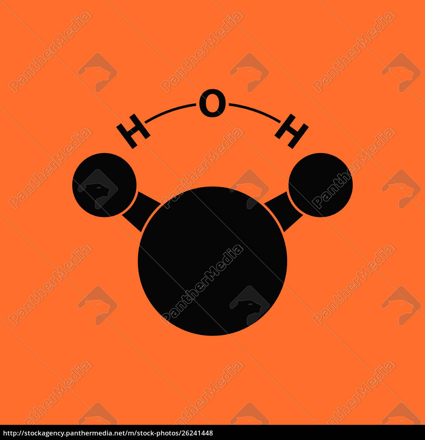 icon, of, chemical, molecule, water., orange - 26241448