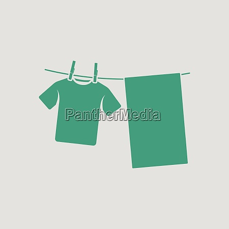 drying linen icon gray background with