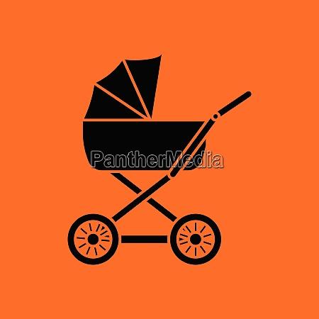 pram ico orange background with black