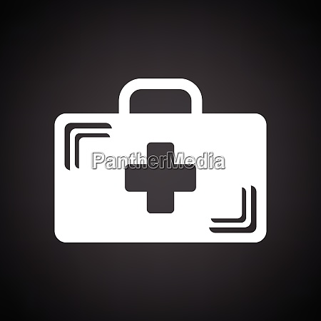 medical case icon black background with