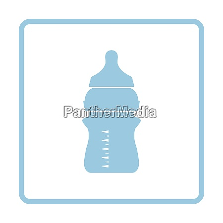 baby bottle icon blue frame design
