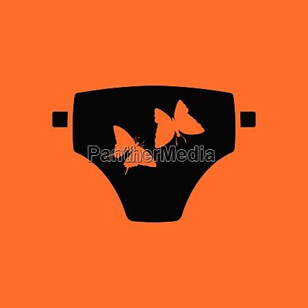 diaper ico orange background with black