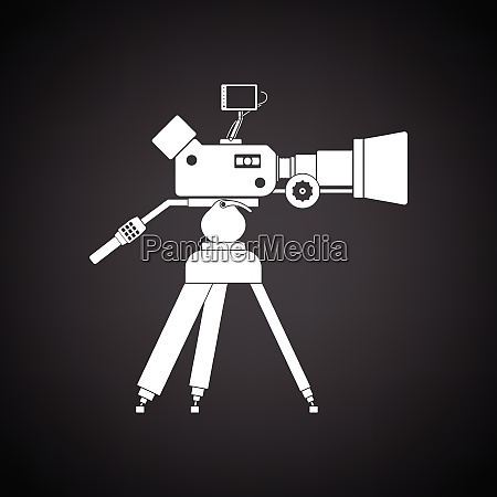 movie camera icon black background with