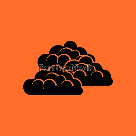 cloudy icon orange background with black