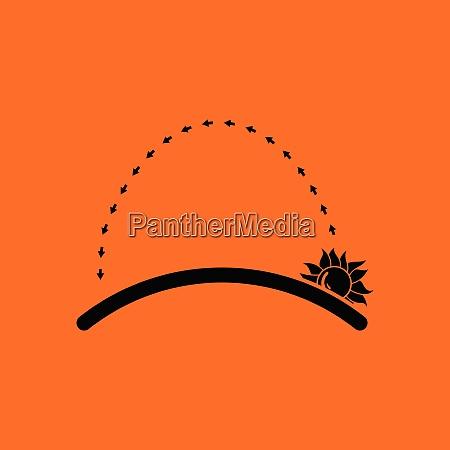 sunrise icon orange background with black