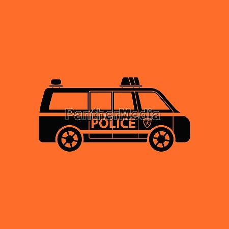 police van icon orange background with