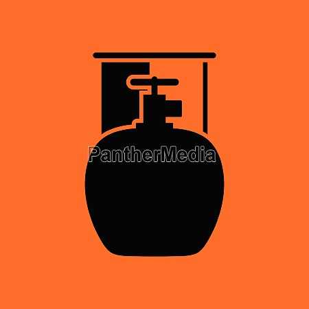 camping gas container icon orange background