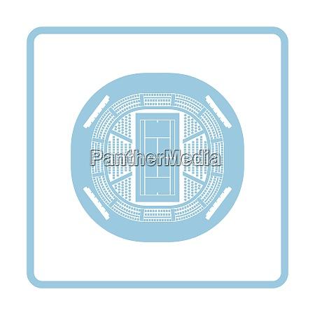 tennis stadium aerial view icon blue