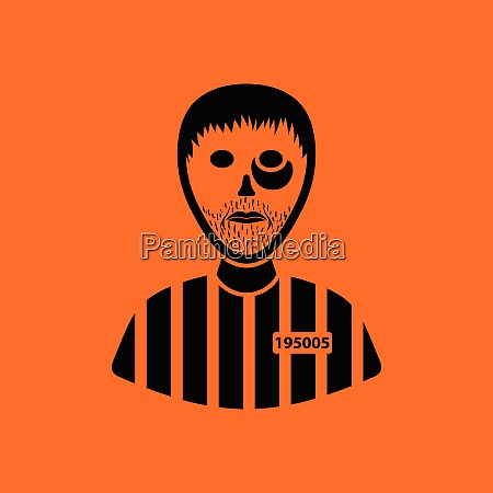 prisoner icon orange background with black