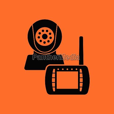 baby monitor icon orange background with