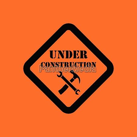 icon of under construction orange background