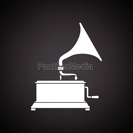 gramophone icon black background with white