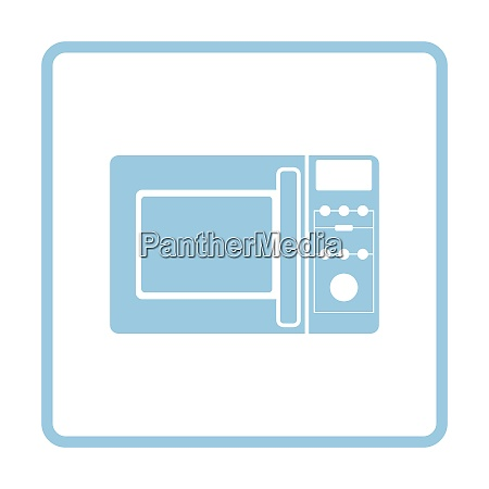 micro wave oven icon blue frame