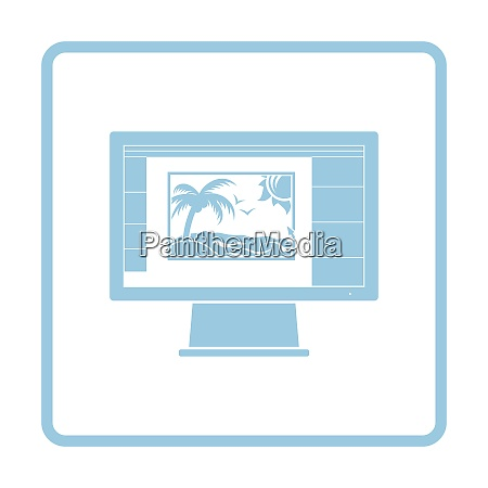 icon of photo editor on monitor